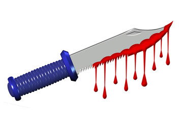 Large knife dripping with blood