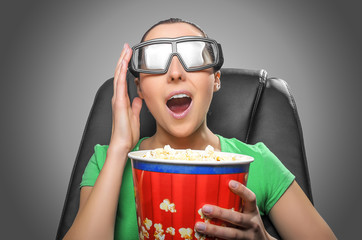 Viewer watching 3D cinema.