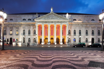 Dona Maria II National Theater at Night in Lisbon