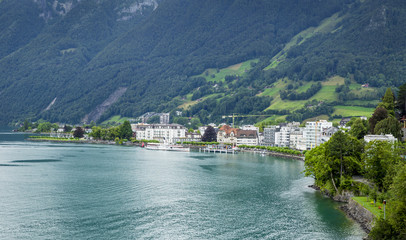 Brunnen town at the shores of Lucerne lake in Switzerland