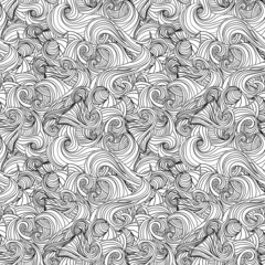 Abstract doodle waves seamless pattern