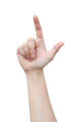 female handpointing on white background