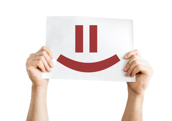 Smiley Face card isolated on white background