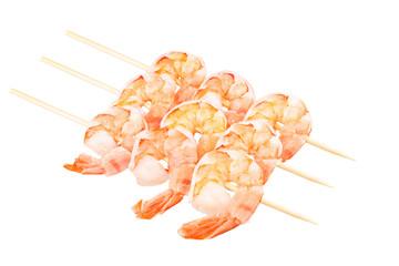 Ready to eat shrimps isolated on white background