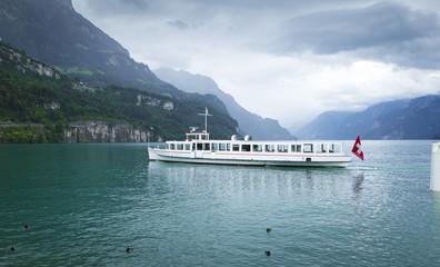 Ferry near Brunnen town in Switzerland