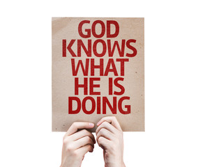 God Knows What He is Doing card isolated on white background