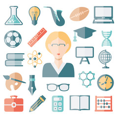 teacher flat icons