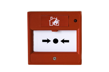 Wall mounted red fire alarm button