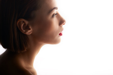 beauty portrait of caucasian woman with red lips