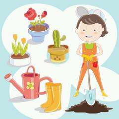 Gardener with garden equipment and flowers in the pots