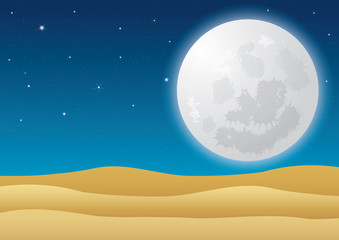 Beautiful desert at night with full moon