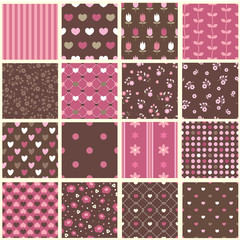 Set of abstract vintage seamless patterns