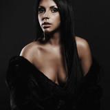 beautiful sexy woman in fur.beauty brunette girl.young woman