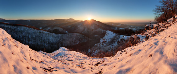 Panoramic view with man in winter mountain