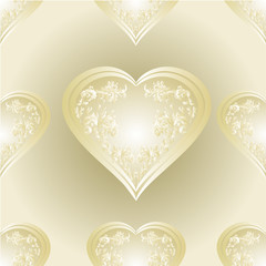 Seamless texture heart of gold and silver ornaments vector