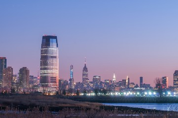 Jersey city and New York City  with Manhattan Skyline over Hudso