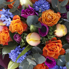 bouquet of colorful spring flowers. tulip, ranunculus, hyacinth,