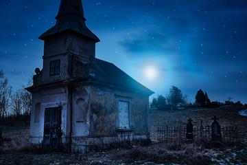Haunted creepy abandoned graveyard