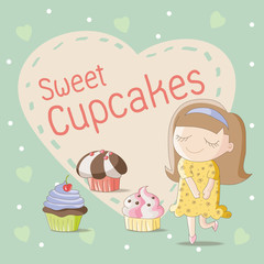 Sweet cupcakes with cute girl