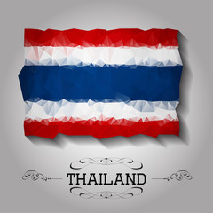 Vector geometric polygonal Thailand flag.