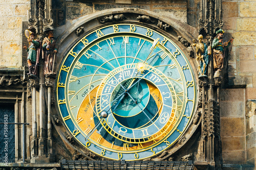 Staande foto Praag Astronomical Clock In Prague, Czech Republic. Close Up Photo