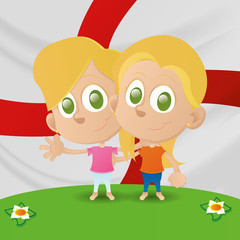 kids and flags
