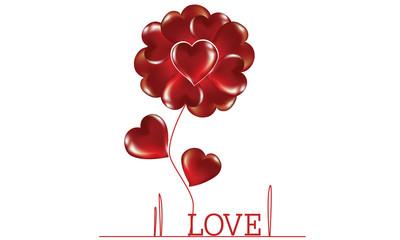 Flower woven heart. Vector illustration