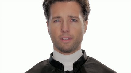 portrait of worried catholic priest
