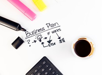 business plan words near highlighters, calculator and coffee