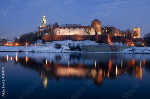Wawel Royal Castle in Krakow at night, Poland