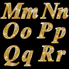 Golden metallic shiny letters M, N, O, P, Q, R