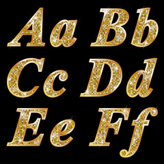 Golden metallic shiny letters A, B, C, D, E, F