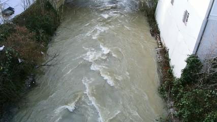 Hochwasser in der Fils bei Eislingen