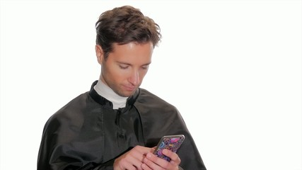 modern young priest taking a selfie