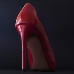 Red women's high heel shoe