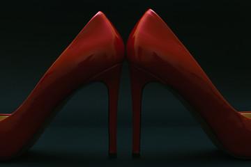 Red women's high heels shoes