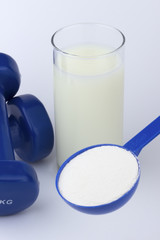 Protein and dumbbells