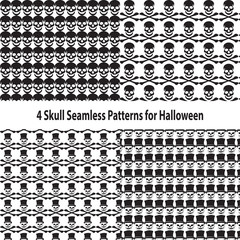 Four Skull Seamless Patterns for Halloween