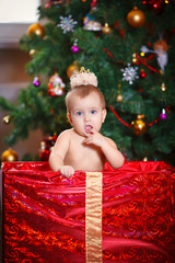The child in front of Christmas tree