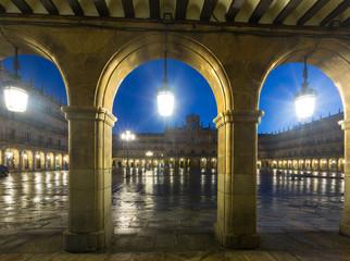 arches  at Plaza Mayor at Salamanca in evening