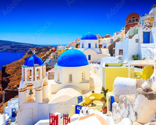 Blue Dome Churches Oia Santorini © Ian Woolcock