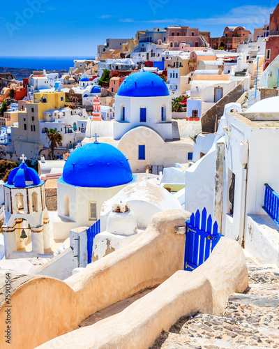 Foto op Canvas Blue Dome Churches Oia Santorini