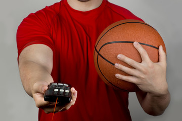 Basketball and Remote Control.