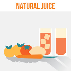 Natural Juice Glasses, Flat Vector Illustration