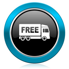 free delivery glossy icon transport sign