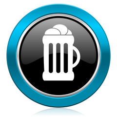 beer glossy icon mug sign
