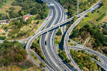 Aerial view of a highway crossing