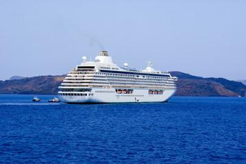 Cruise ship at Santorini port, Greece