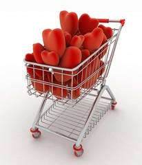 Supermarket trolley full of red hearts. 3d render illustration