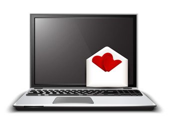 Love letter on the laptop and the shape of the heart.